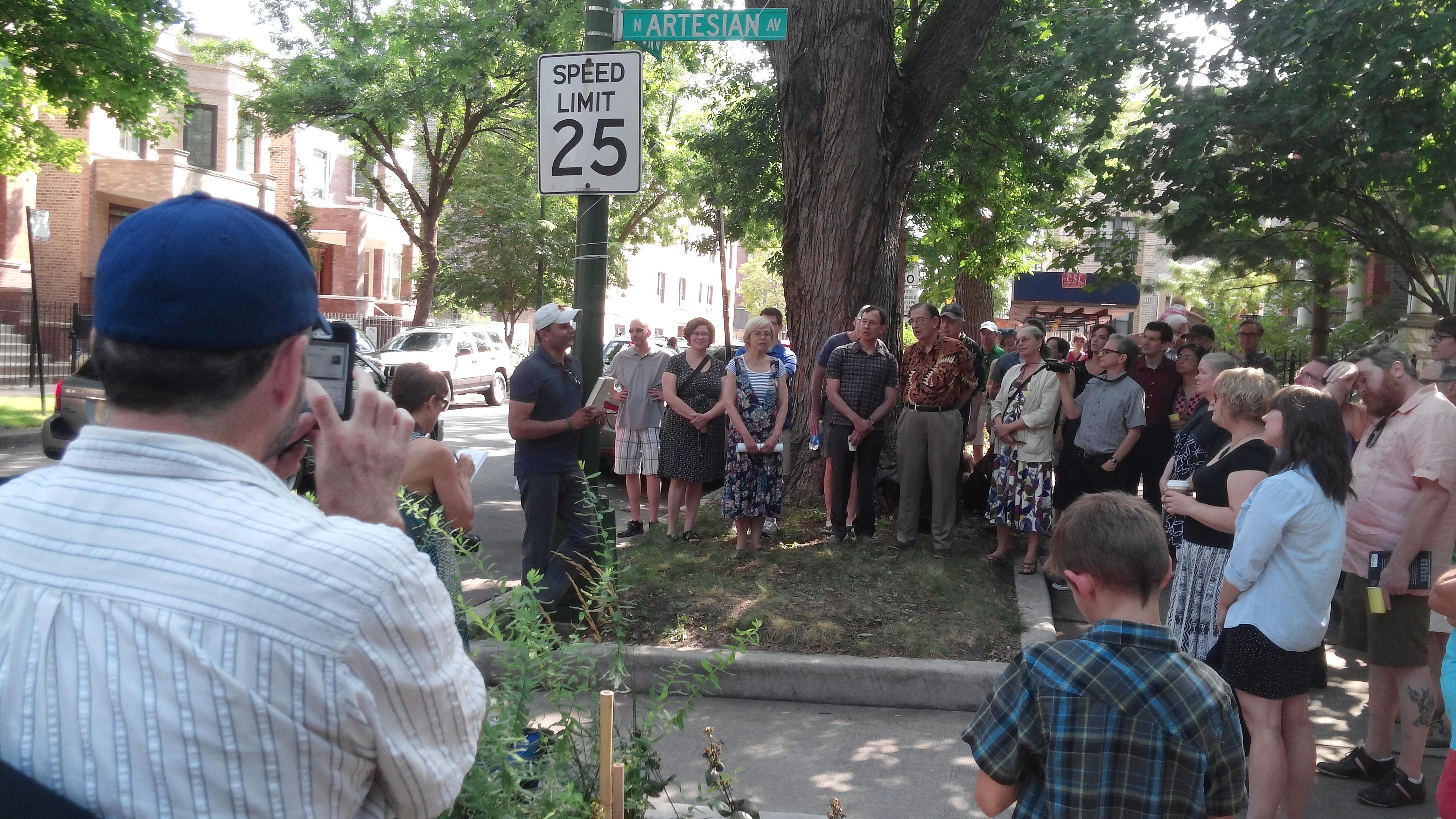 Crowd at Lee Sandlin Way - August 2015